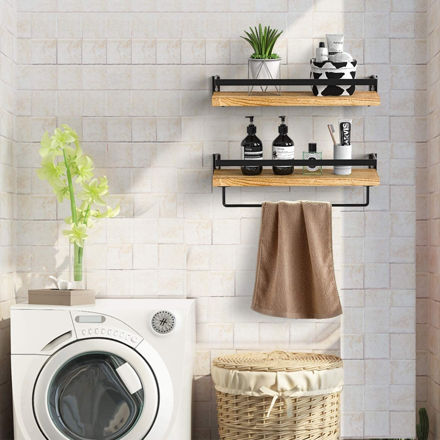 The pair of floating shelves mounted on a wall in a laundry room