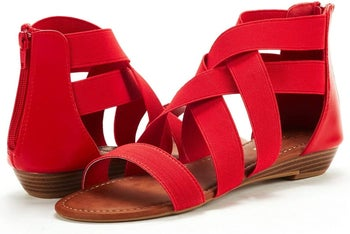 the sandals in red