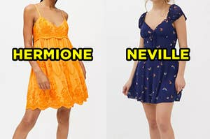 """On the left, someone wearing a short sundress with a lacy overlay labeled """"Hermione,"""" and on the right, someone wearing a sort dress with cap sleeves and a deep v-neck labeled """"Neville"""""""