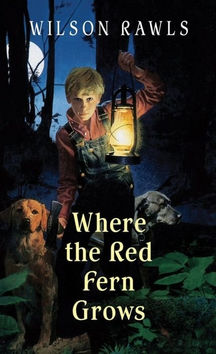 A boy holding a lantern with two dogs at his side on the cover of Where the Red Fern Grows