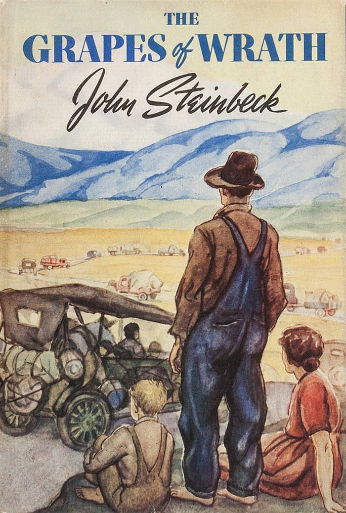 Americans traveling across the country in cars on the cover of The Grapes of Wrath