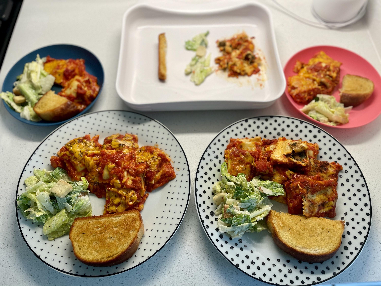 5 plates of ravioli
