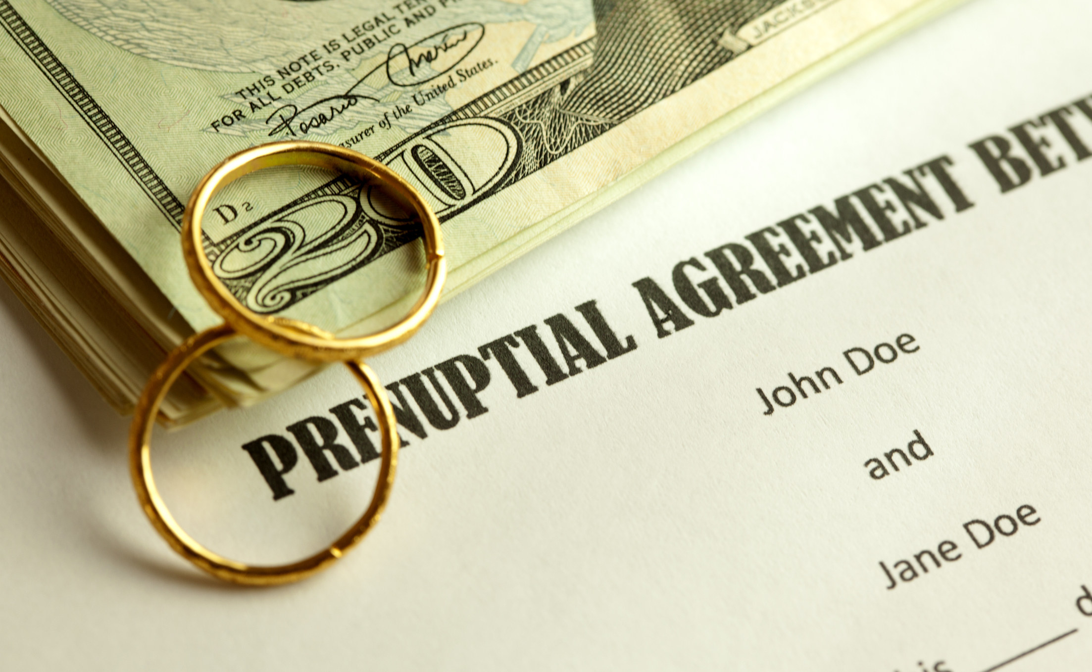 A prenuptial agreement and two wedding bands
