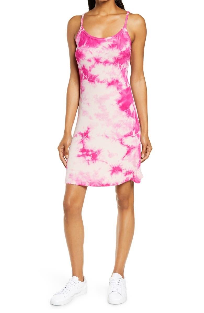 model wearing the pink tie dye dress