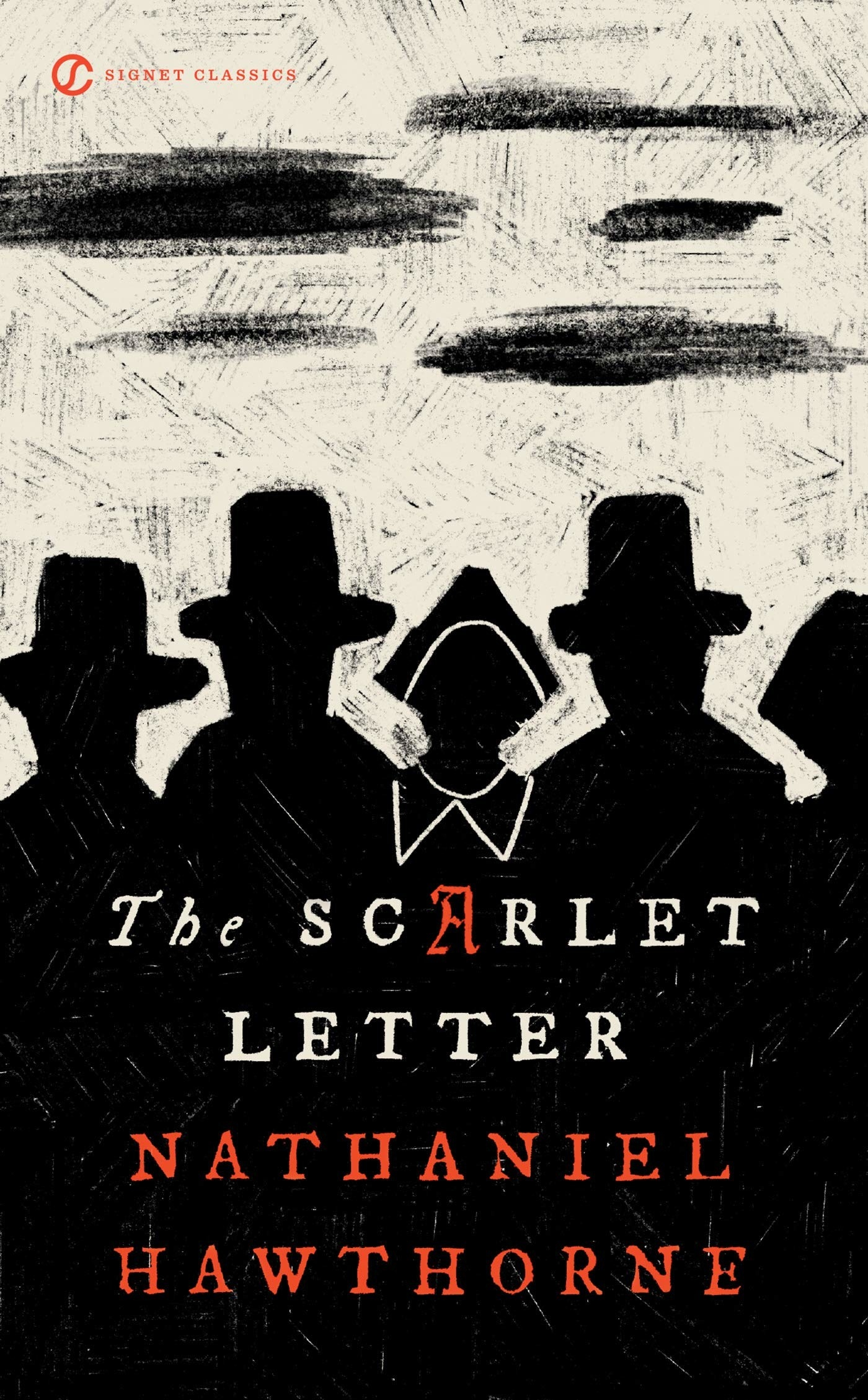 Silhouettes of people on the cover of The Scarlet Letter