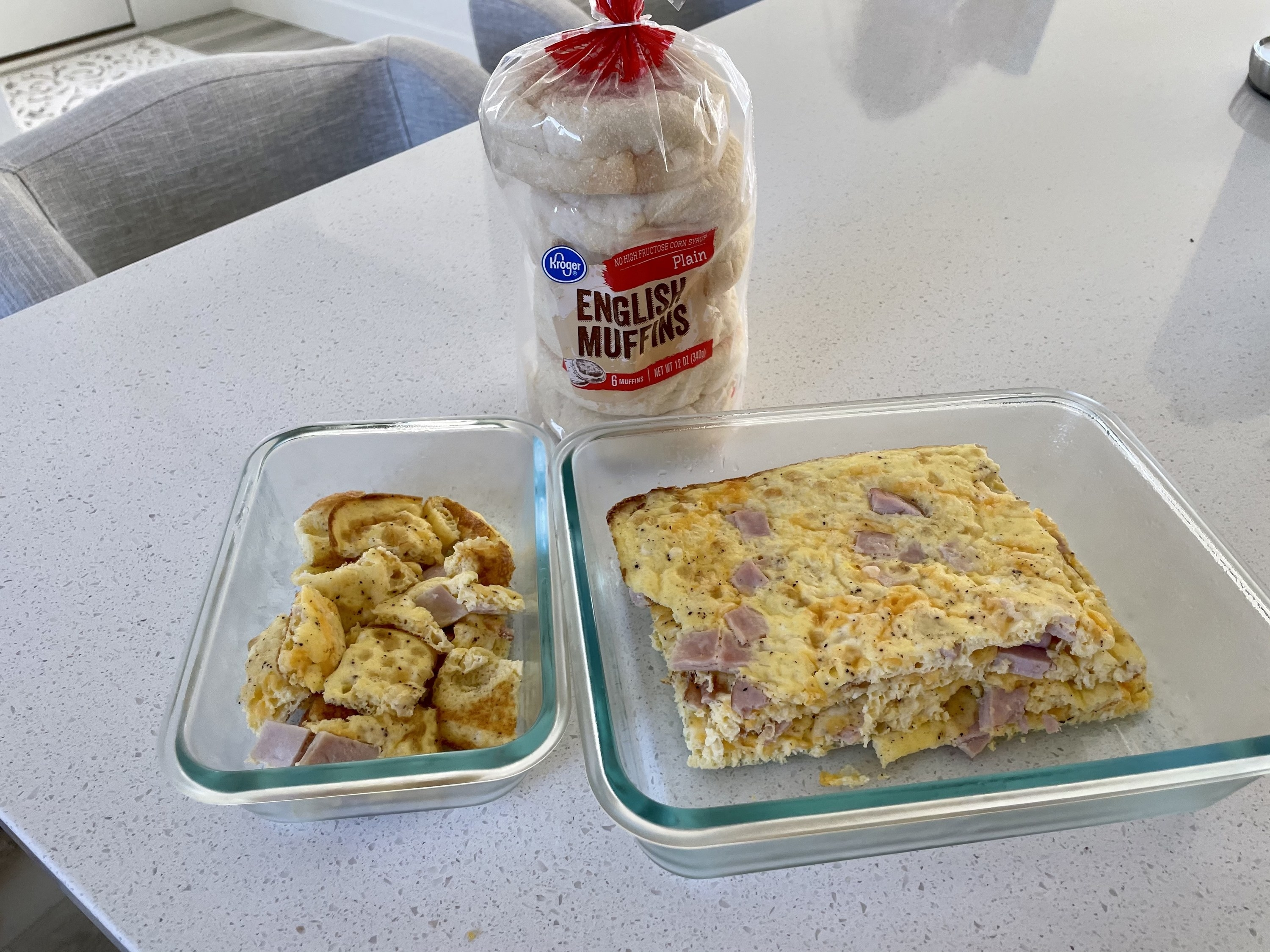 Leftover eggs and English muffins