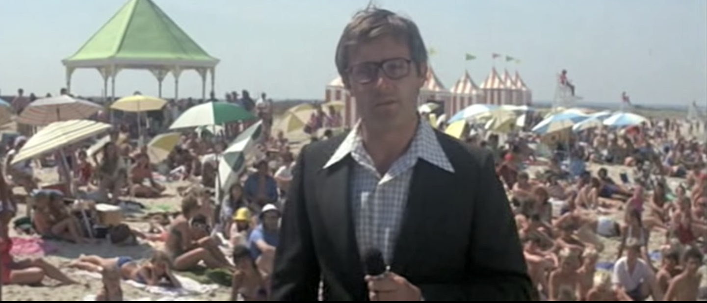 Peter Benchley as a reporter on the beach