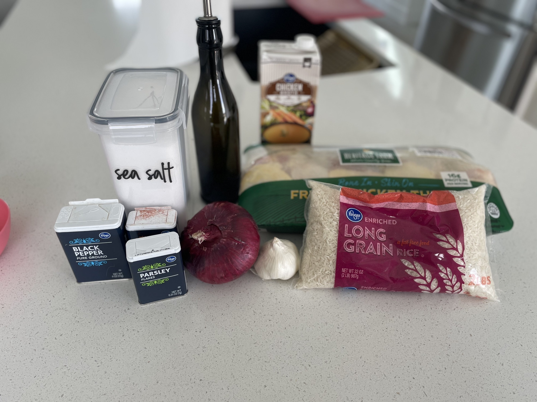 Ingredients used for Paprika Chicken & Rice Bake