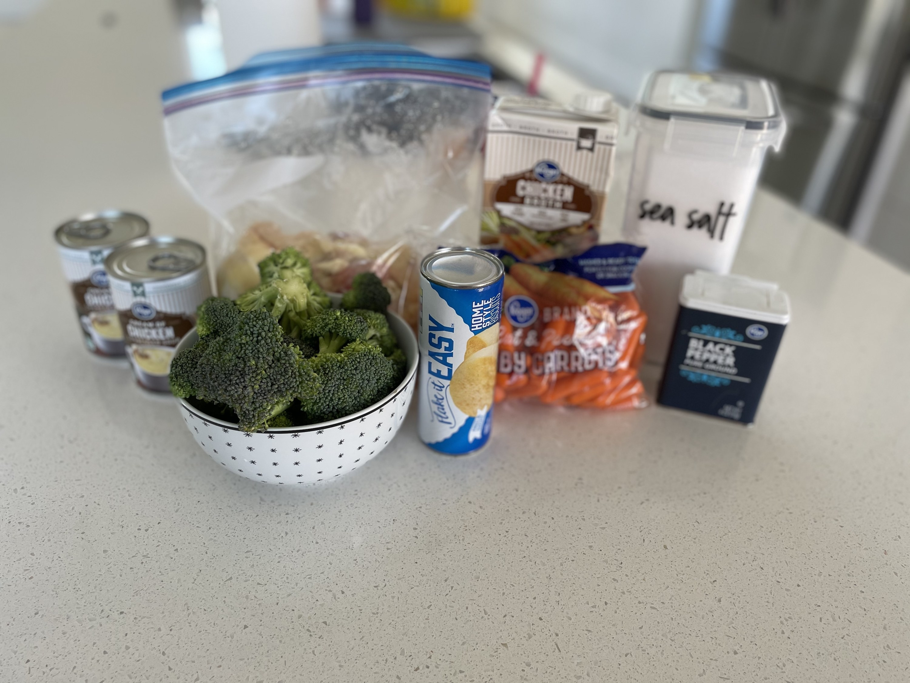 Ingredients for slow cooker chicken and biscuits