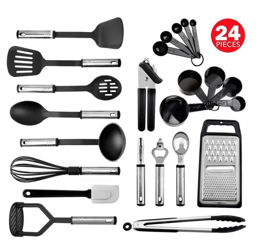 A 24-piece, kitchen utensil set in black