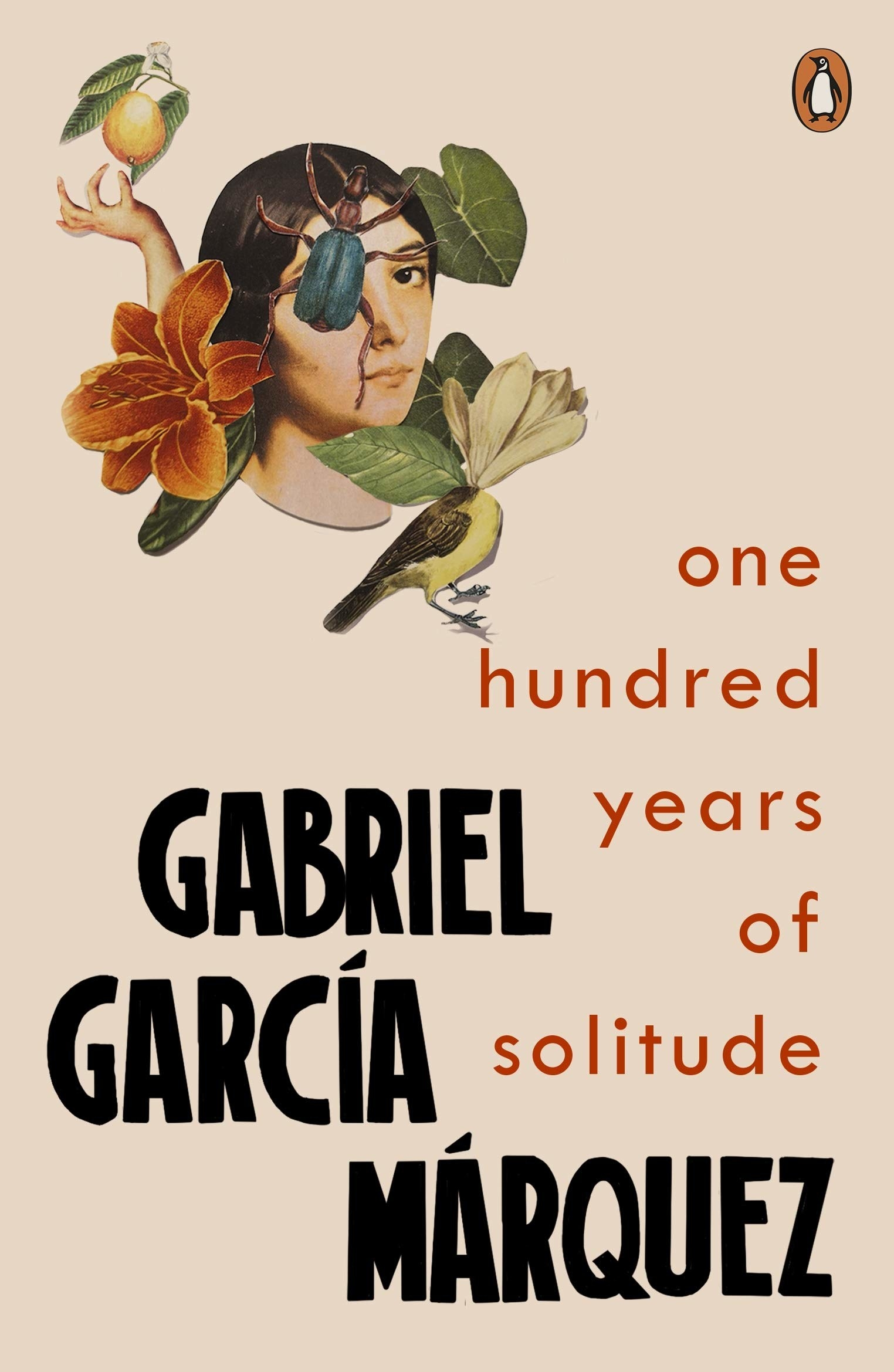 A collage with a woman, a beetle, a bird, and flowers on the cover of One Hundred Years of Solitude