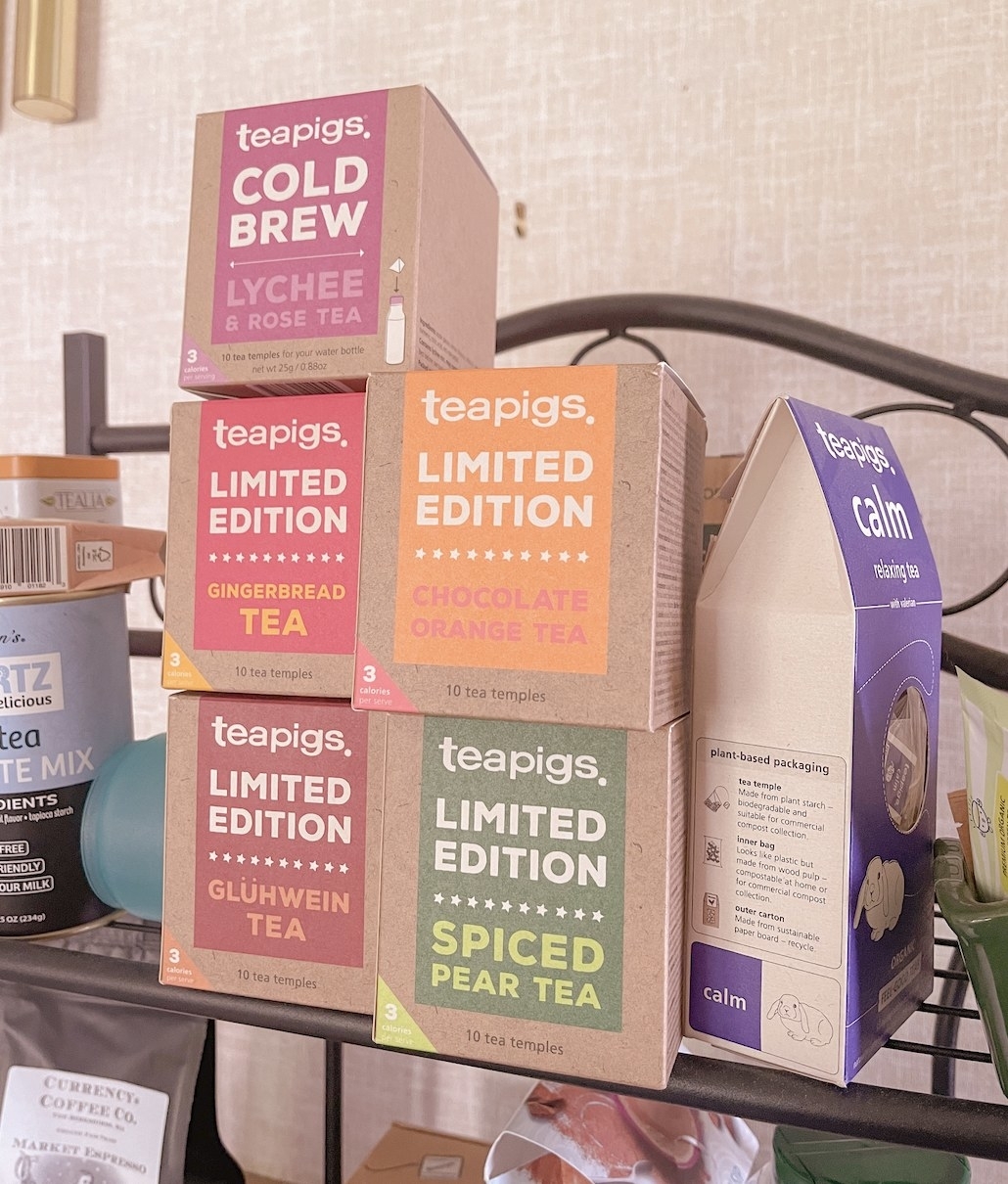 Boxes of different flavors of Teapigs tea