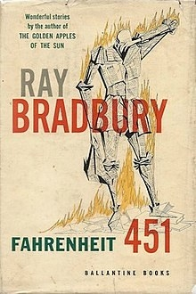 A person wrapped in newspaper set on fire on the cover of Fahrenheit 451
