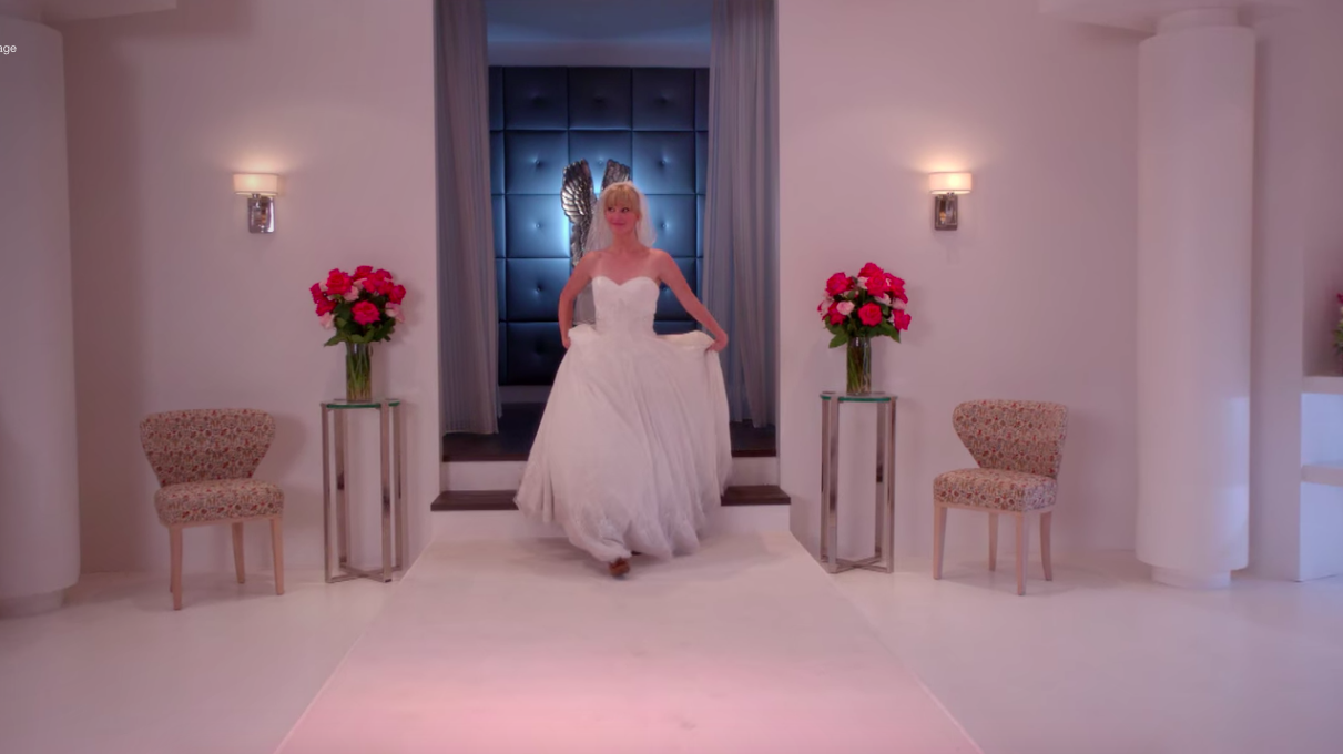"""Brittany from """"Glee"""" trying on wedding dresses"""