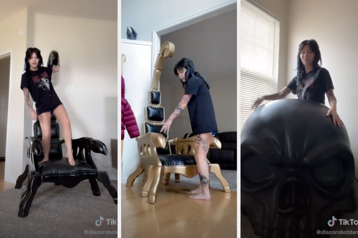 Two scorpion shaped chairs with the scorpion tails as the backs, and a chair with a back that looks exactly like an angry skull