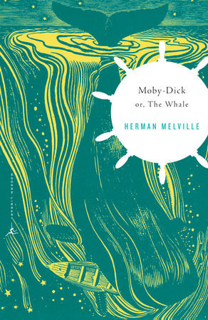 A whale diving into the ocean with a boat in its mouth on the cover of Moby Dick