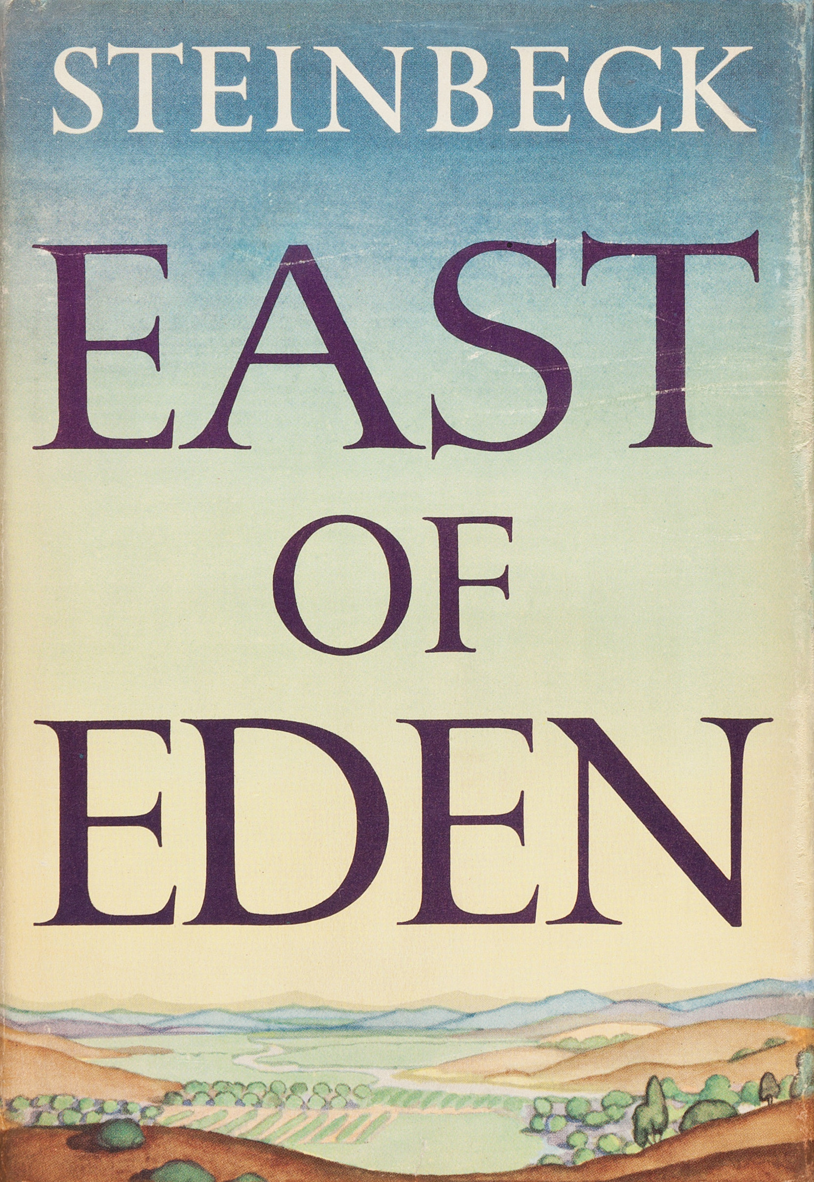 A wide angle of a landscape on the cover of East of Eden