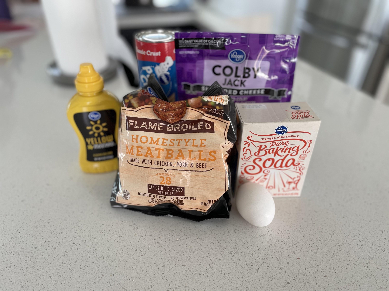 Ingredients for cheeseburger pretzel bombs