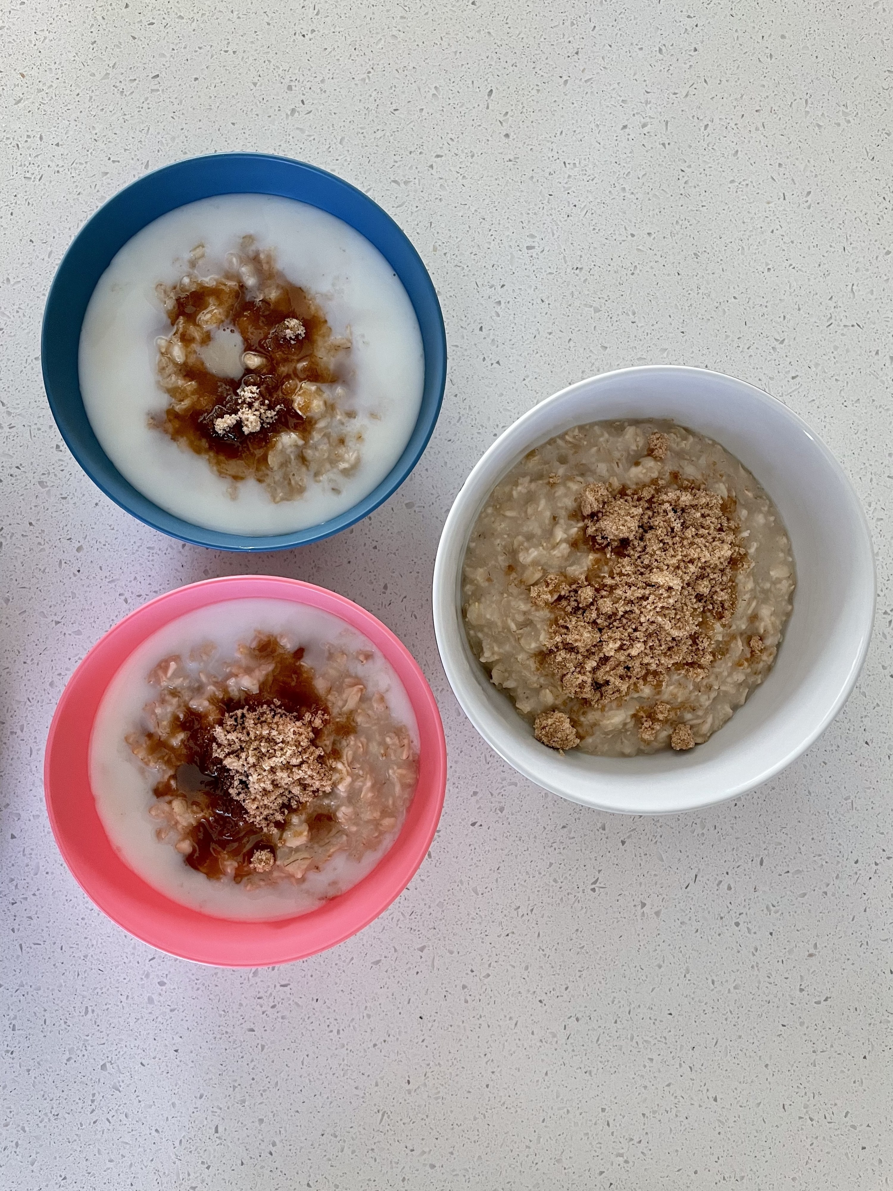 Three bowls of oatmeal