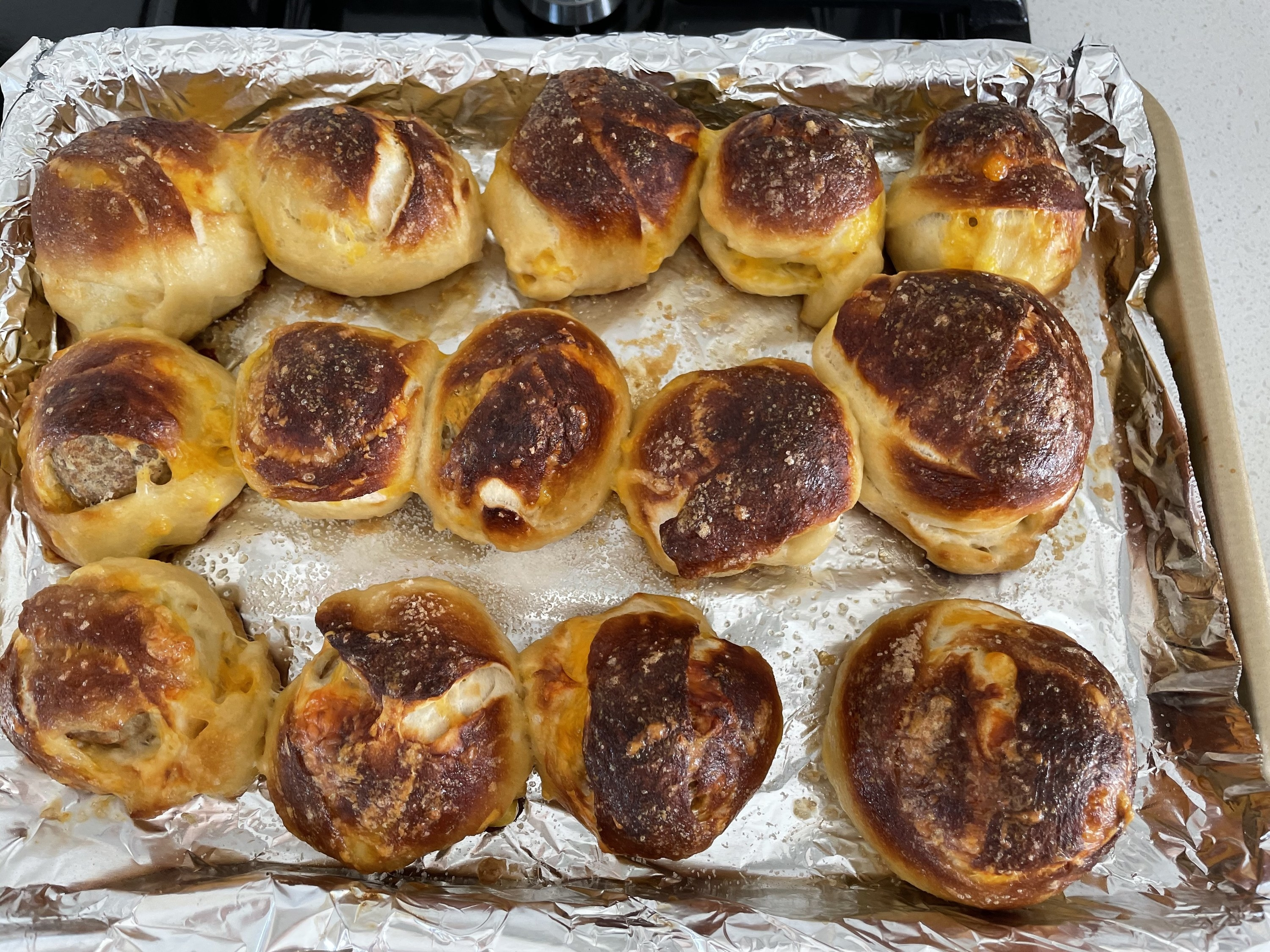 Finished pretzel dough balls, out of the oven