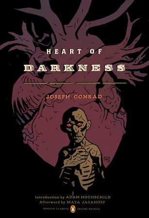 An emaciated person holding their hand over their heart, standing in front of a heart on the cover of Heart of Darkness