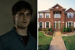 Harry Potter, wearing a blue button up shirt and his trademark glasses, looks visibly upset and a two story brick house with a manicured lawn and a sand stone walkway.