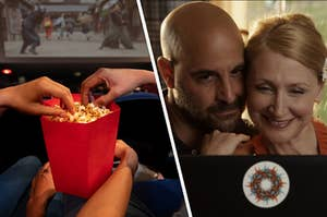 """Two hands reach into the same small bucket of popcorn as the movie screen behind them plays a movie and Rosemary and Dill Penderghast lean into each other as they smile at their computer screen in the movie """"Easy A."""""""