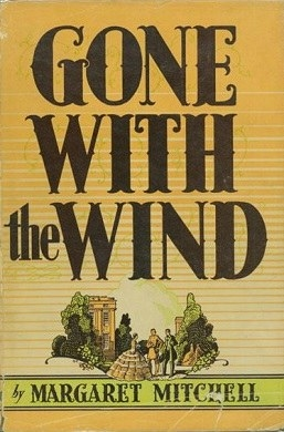 A trio talking between shrubs on the cover of Gone With the Wind
