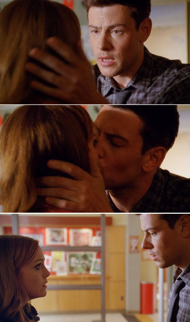 Finn kissing Emma and her looking freaked out after