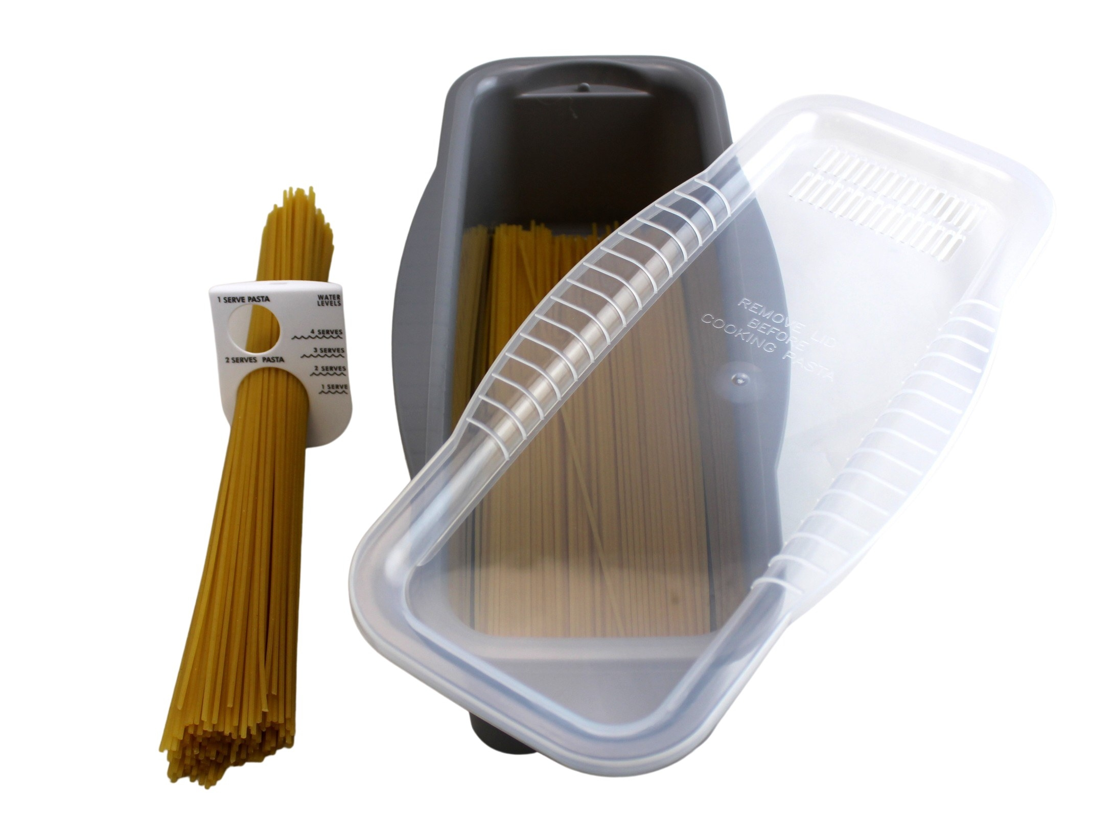 deep, rectangular pan and clear acrylic lid with raw spaghetti inside of it, along with a small measuring tool with two different sizes holes and the recommended amount of water to add per serving