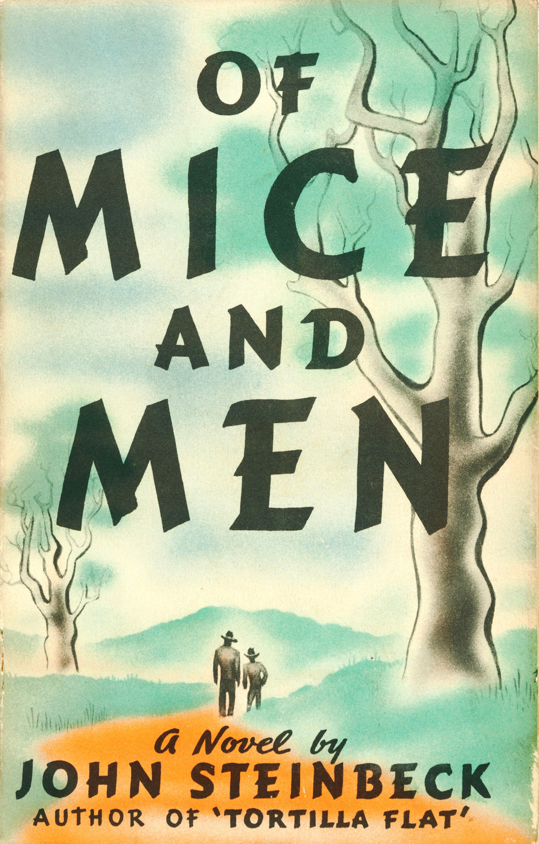 Two men walking down a path on the cover of Of Mice and Men