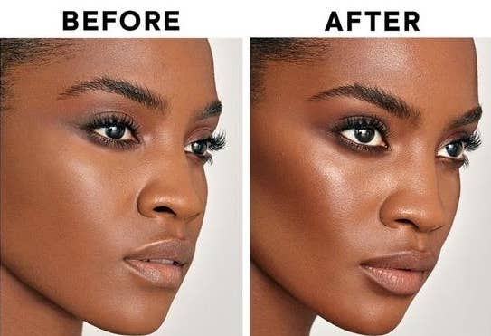 Before and after of model's highlighted cheekbones