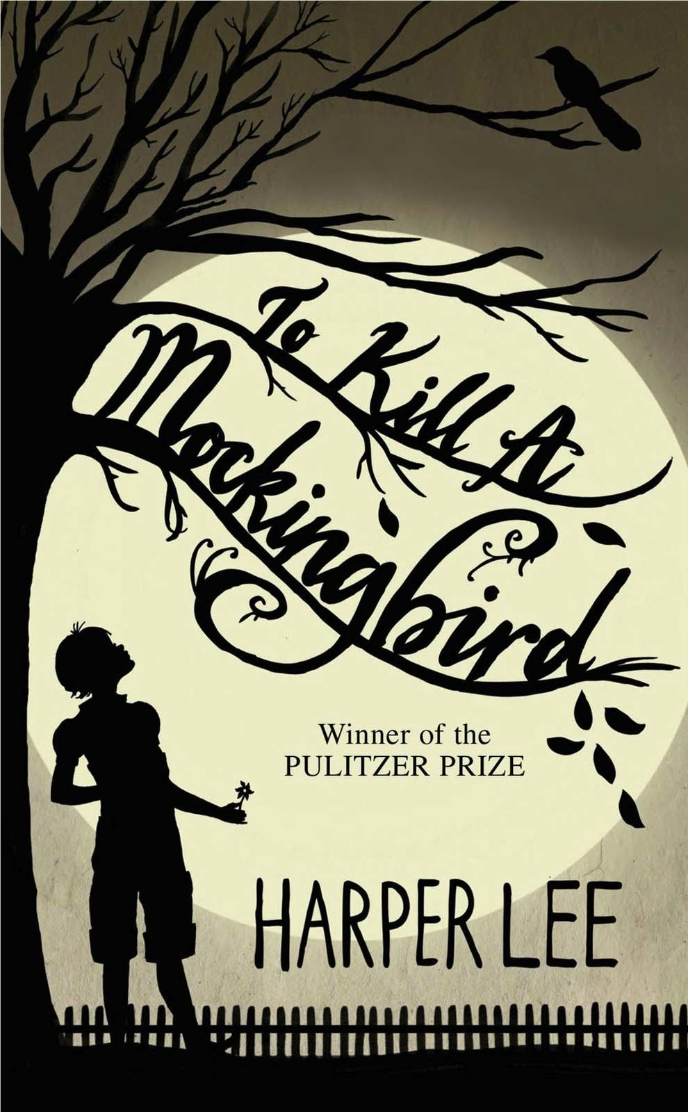 The silhouette of a girl standing under a tree on the cover of To Kill a Mockingbird