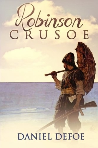 A man standing on the beach holding an umbrella and a gun on the cover of Robinson Crusoe