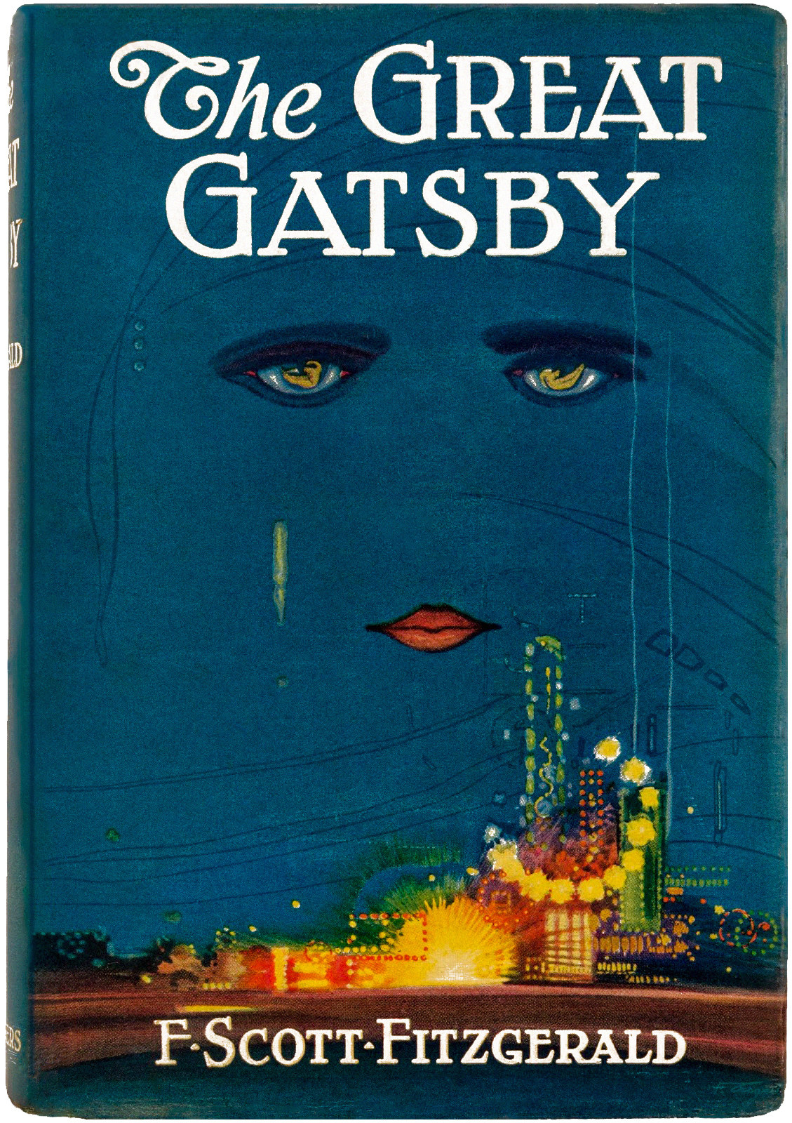 A pair of eyes looks over city lights on the cover of The Great Gatsby