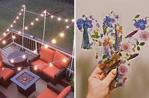 outdoor string lights and pressed flower bookmarks