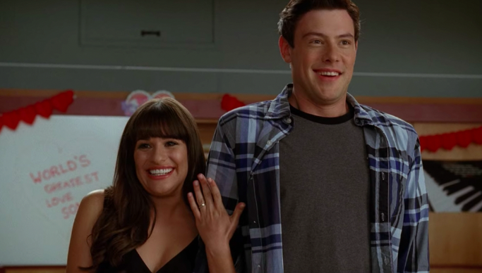 """Rachel and Finn announcing their engagement to the Glee club in """"Glee"""""""