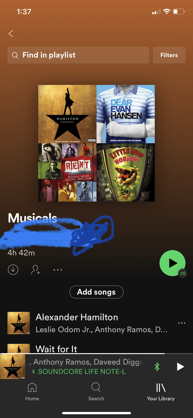 """A screenshot of a """"Musicals"""" Spotify playlist, containing songs from """"Rent,"""" """"Hamilton,"""" """"Dear Evan Hansen,"""" and """"Little Shop of Horrors"""""""