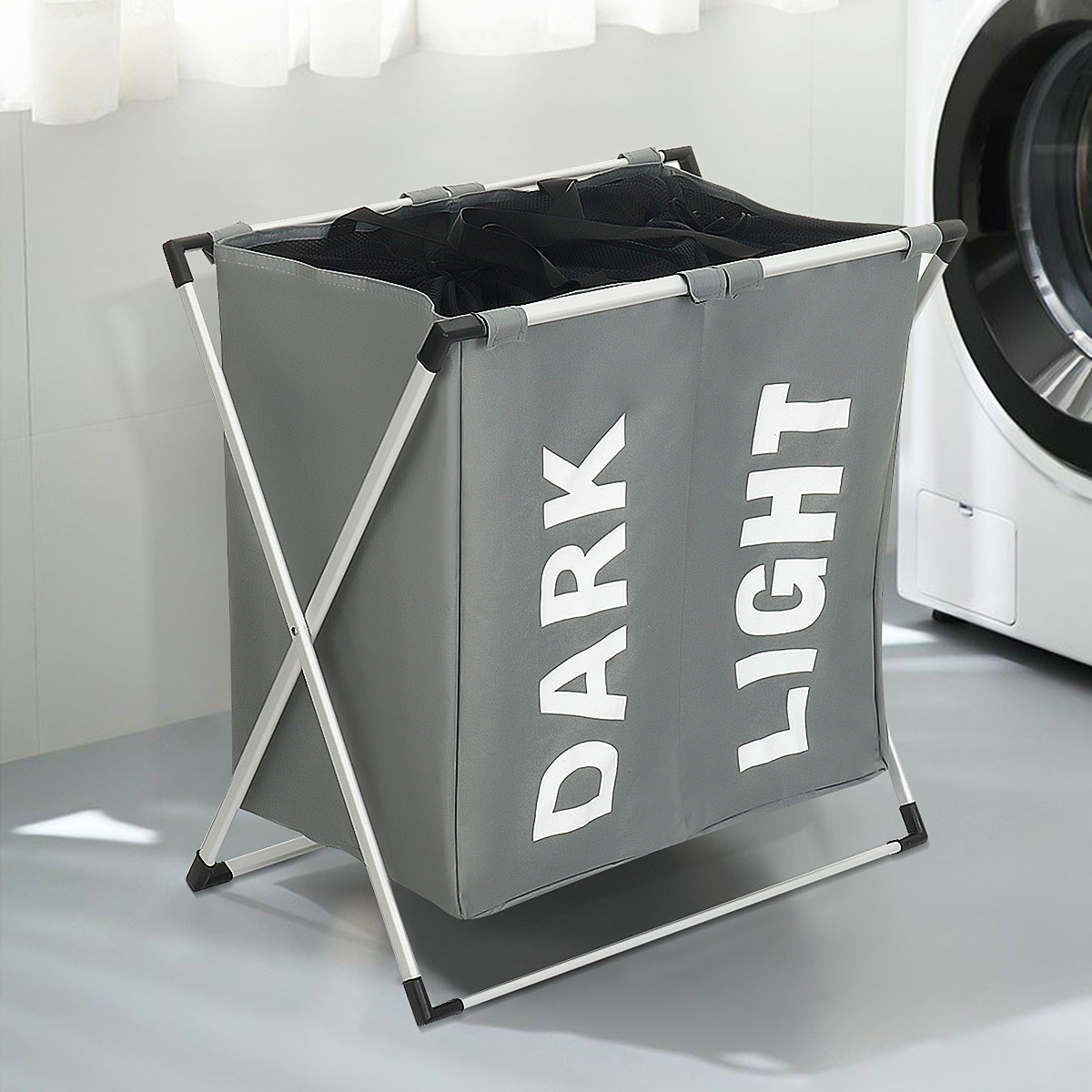 """grey laundry basket with one side market """"darks"""" and the other marked """"lights"""""""