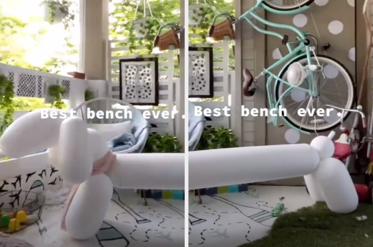 A long bench that looks like a balloon animal weiner dog