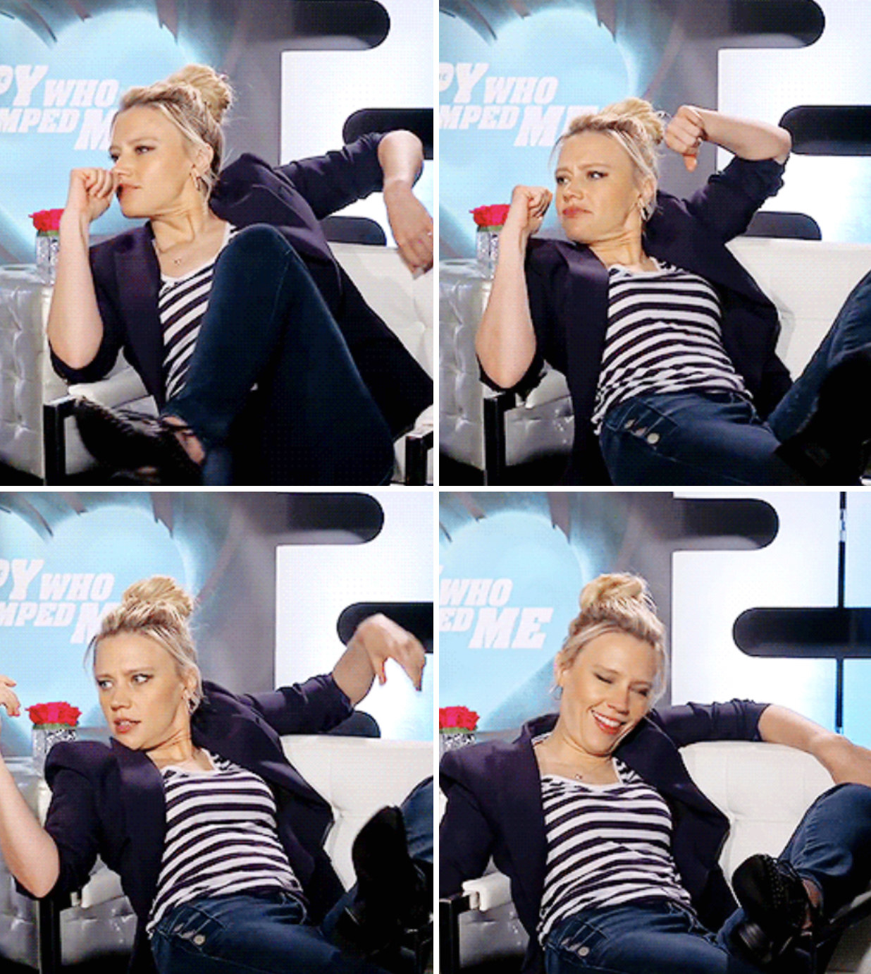 """Kate McKinnon trying to sit in a chair during an interview for """"The Spy who Dumped Me"""""""