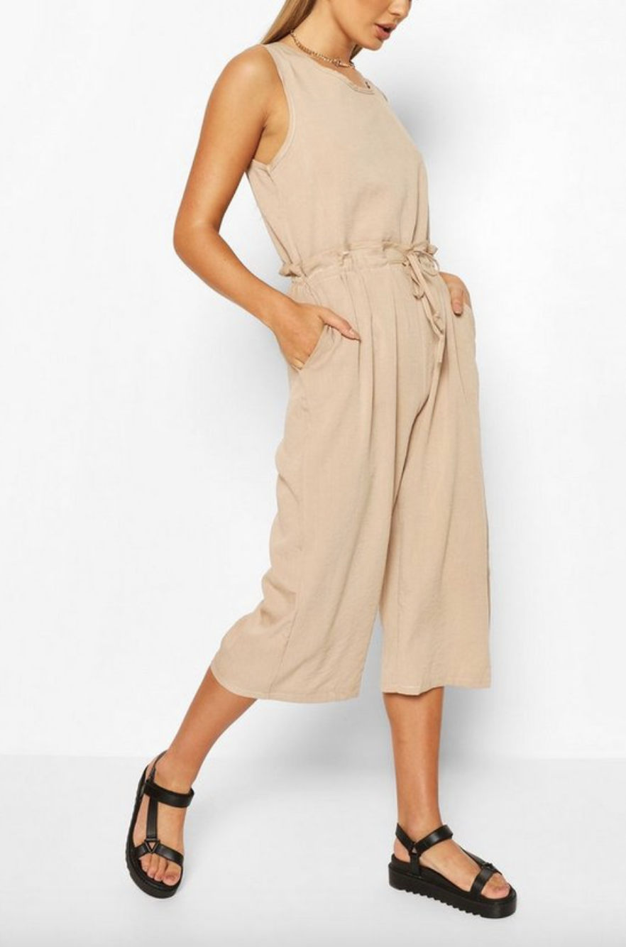 the jumpsuit in camel
