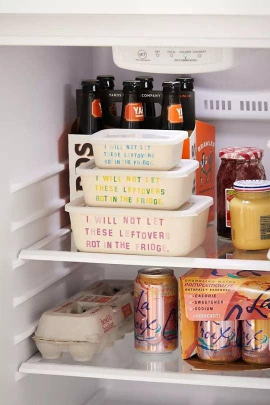 """Three ceramic containers in a fridge, with words that read, """"I will not let these leftovers rot in the fridge"""""""