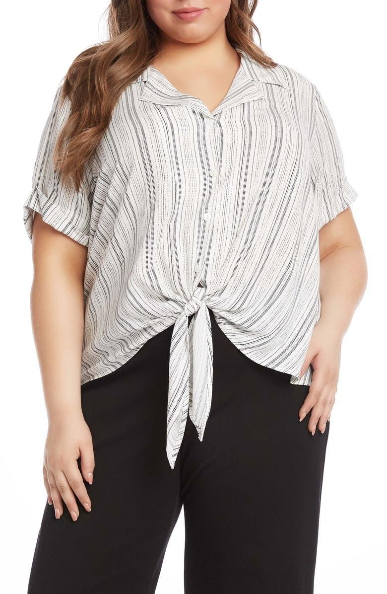 model wearing the striped shirt
