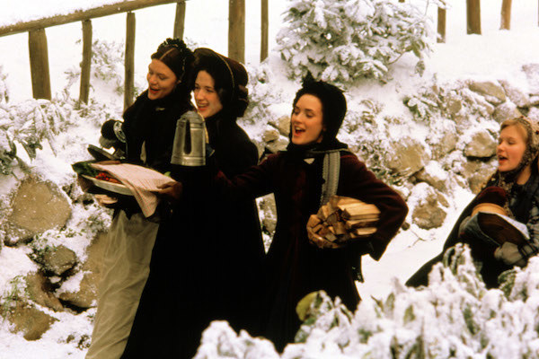 Claire Danes, Trini Alvarado, Winona Ryder, and Kirsten Dunst frolicking in the snow.