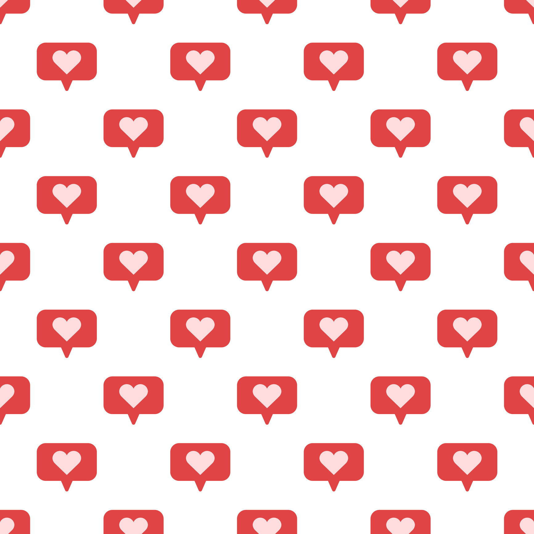 A repeating pattern of heart likes, like from Instagram