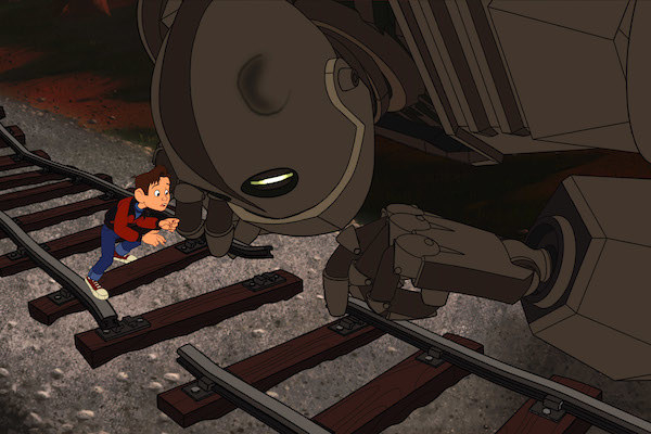 Hogarth Hughes and the Iron Giant trying to fix the railroad track.
