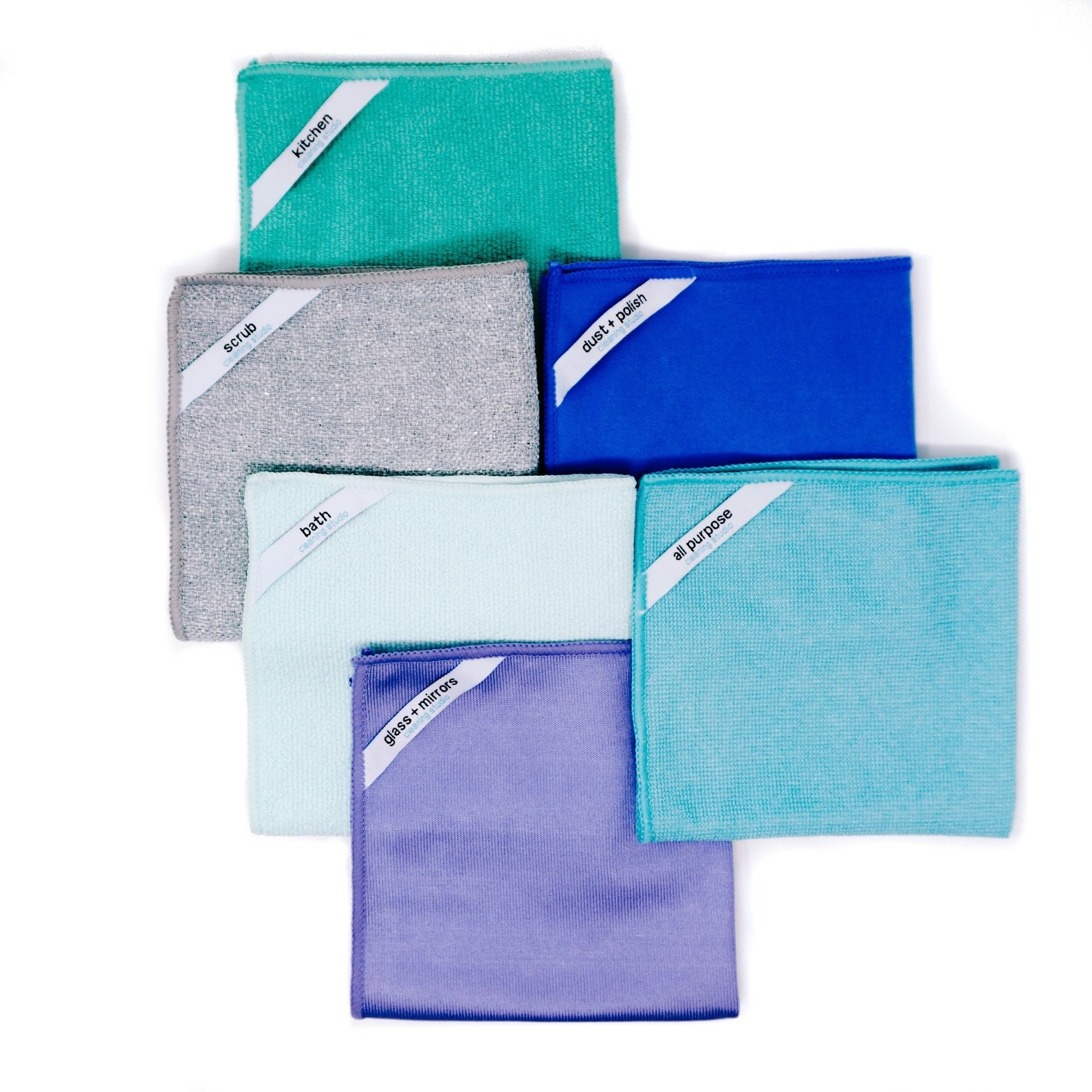 six different colored microfiber clothes with the label of what they're used for on it