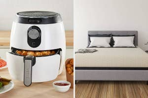 left: white air fryer with tater tots in the basket. right: mattress on a gray bed frame with pillows