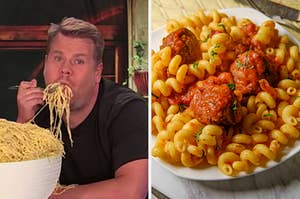 On the left, James Corden eating spaghetti out of a giant bowl, and on the right, some cavatappi with meatballs